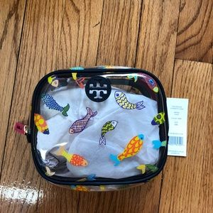 NWT Tory Burch Authentic Fish Round Cosmetic Case